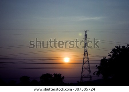 Electric tower on sunset