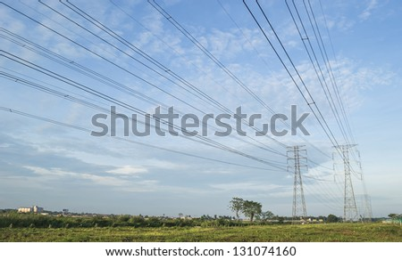Electric tower under the blue skies