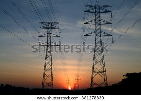 Electric Tower with wire on black silhouette in early morning, wide shots