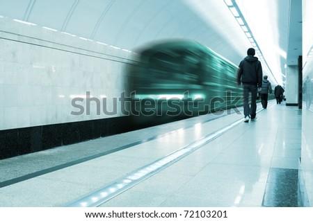 Electric train in metro - stock photo