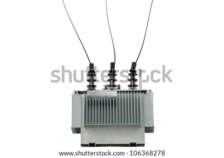 electric transformer on white background - stock photo