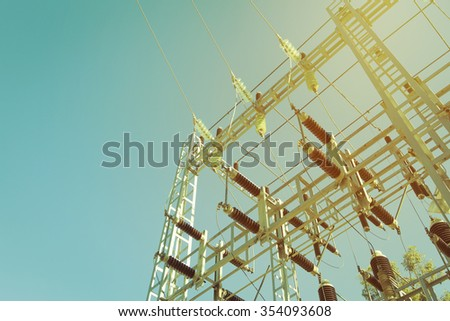 Electric transformer station.  - stock photo