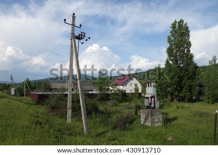 Electric transformers - stock photo