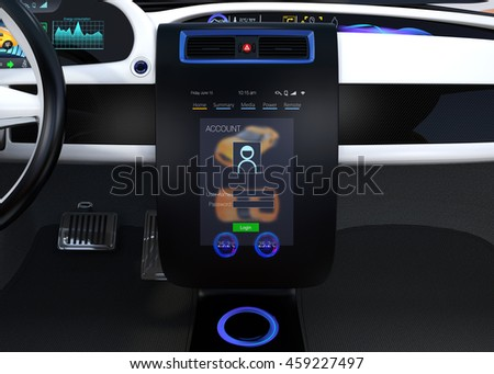 Electric vehicle center console concept. User sign in to the account that could customize the setting for him. 3D rendering image.