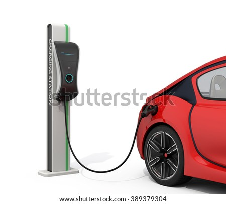 Electric vehicle charging station for public usage. Clipping path available. - stock photo