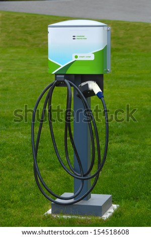 Electric vehicle charging station for zero emissions cars. Electrical infrastructure for green sustainable future of our planet. - stock photo
