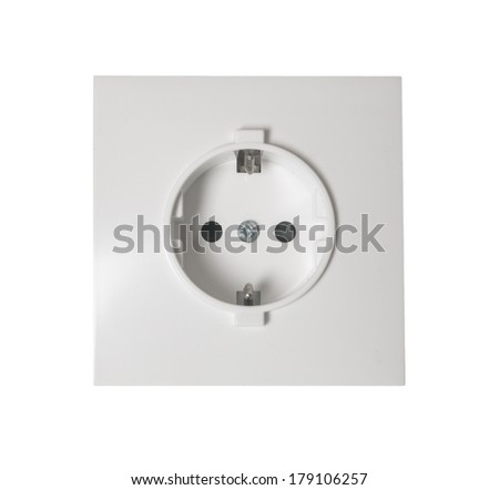 Electric Wall Socket with Wall Plate Isolated