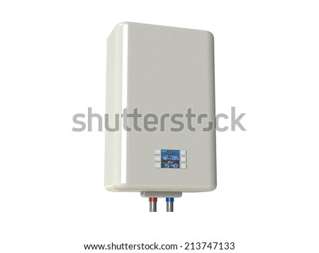 Electric water heater isolated on white
