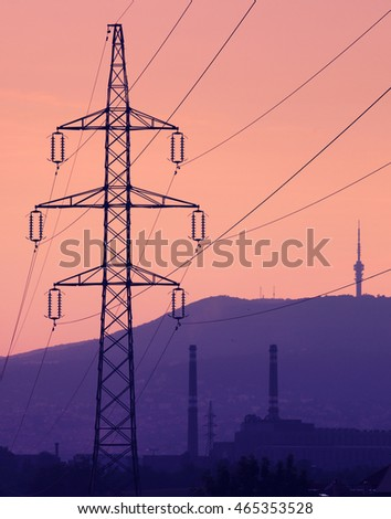 Electric wire tower chimney and tv-tower