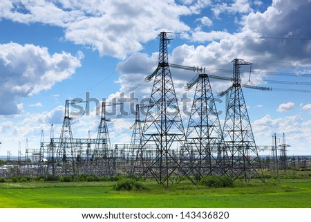 electric wires   close up against the sky - stock photo