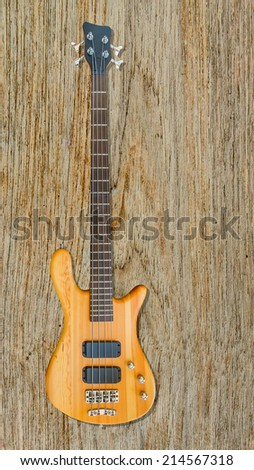 Electric Wood Bass Guitar.
