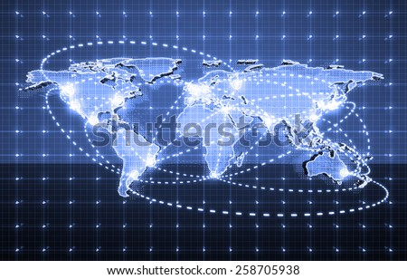 electric world map, global future technology - stock photo