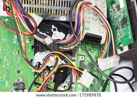 Electrical and electronic waste. Old computer parts close up. - stock photo