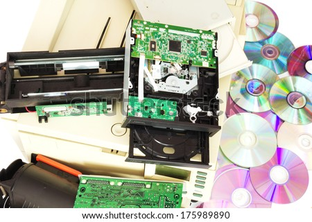 Electrical and electronic waste. Old computer parts on white background. - stock photo