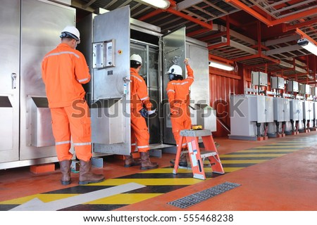 Electrical And Instrument Working On Direct Current Power Distribution System Offshore Oil Gas Platform