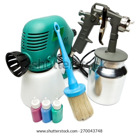 electrical and mechanical, manual spray gun for pulverization of color