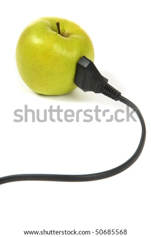 electrical apple with electrical cord over white background - stock photo