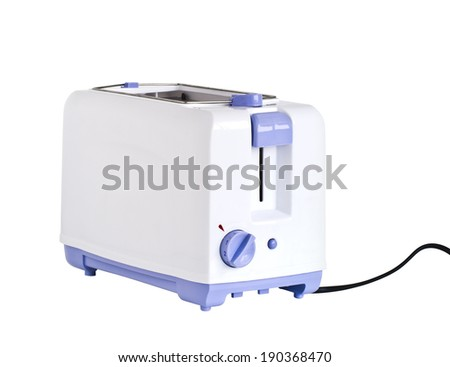 electrical appliance, bread toaster isolated on white - stock photo