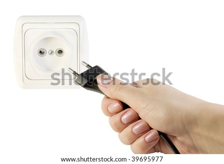 electrical appliances plug and socket in hand isolated on white