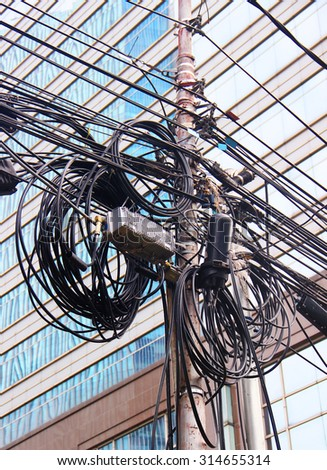 electrical cables in Asia - stock photo