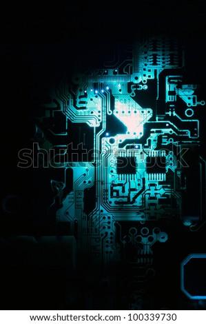 electrical circuit blue tones - stock photo