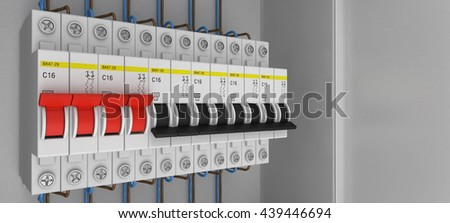 Electrical circuit breakers. 3D. 3D rendering - stock photo