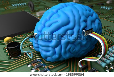 Electrical circuit with various components interfaced with a brain - stock photo