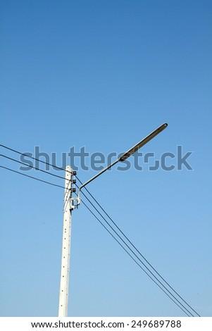 Electrical concrete pole - stock photo