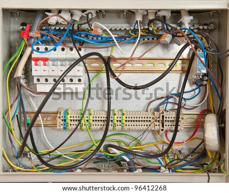 Electrical connections in a fuse box - stock photo