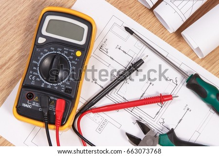 Electrical Construction Blueprint Drawings Or Diagrams Multimeter For Measurement In Installation And Accessories