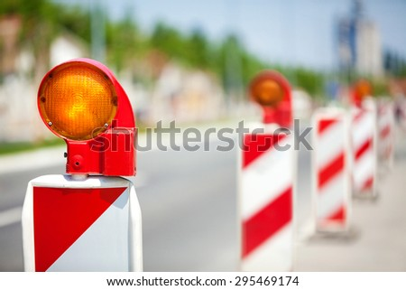 electrical constructions for indicate hazard in road repair and construction works - stock photo