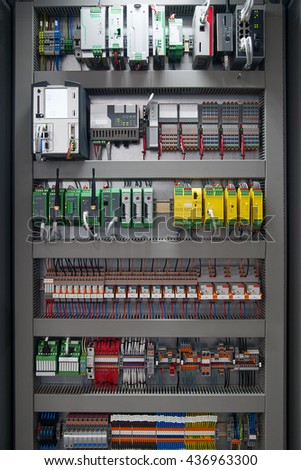 electrical distribution board - stock photo