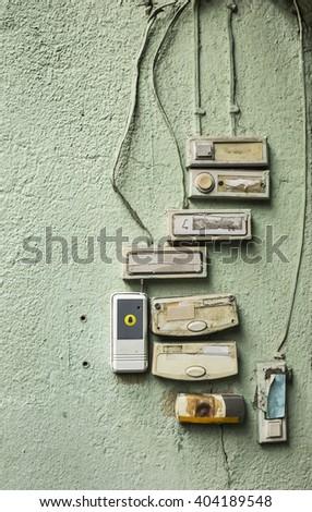 electrical doorbells - stock photo
