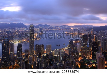 Electrical energy use in the night , electrical energy in building, Hong kong at night - stock photo