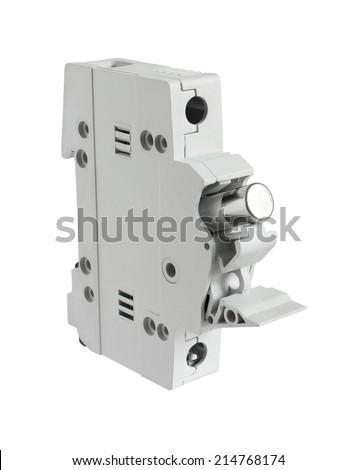 Electrical Fuse Holder Opened Position isolated on white background - stock photo