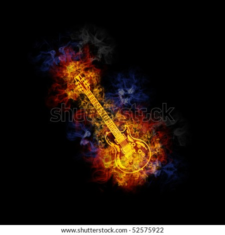 Electrical guitar, covered in flames. - stock photo
