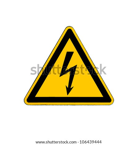 Electrical hazard high voltage sign isolated on white - stock photo