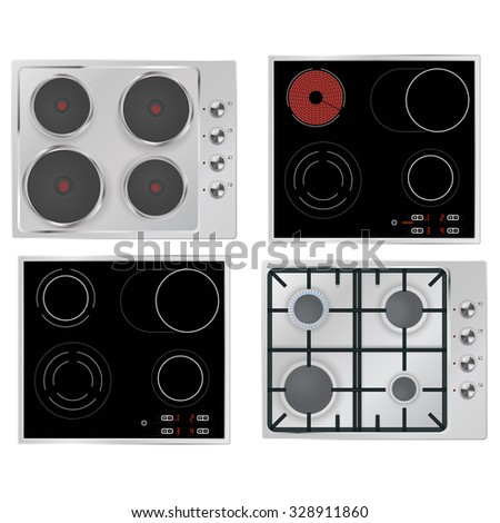 Electrical hob, Gas stove, Surface electric stove. Illustration isolated on white background. Raster version. - stock photo