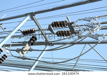 Electrical insulator joint to hardware & conductor - stock photo