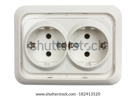 Electrical jack white plastic socket isolated on white background. - stock photo