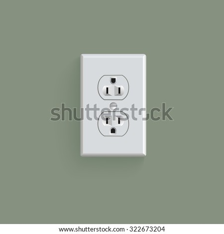 electrical outlet in the USA, power socket - stock photo