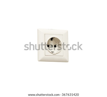electrical outlet on a white