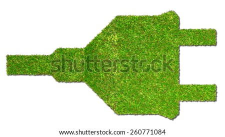 electrical outlet on grass - green energy concept - stock photo