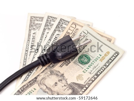 Electrical Outlet Plug on Paper Money ( Saving Money Concept )