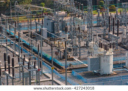 electrical plant,electrical power transformer in high voltage substation - stock photo