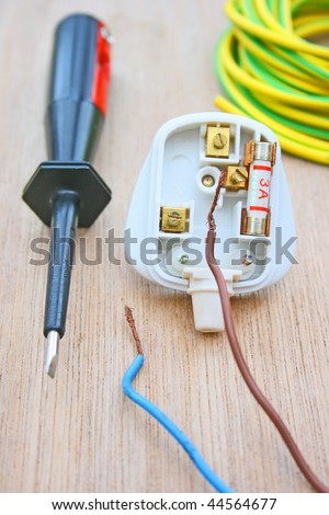 Electrical plug and screwdriver.