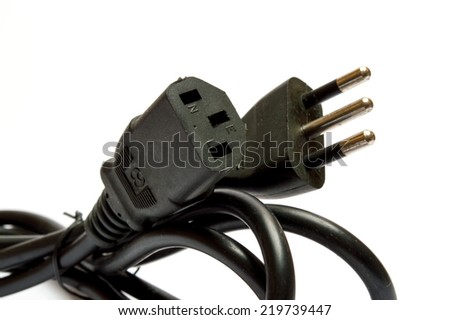 Electrical plug on white background