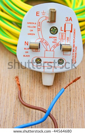 Electrical plug with diagram. - stock photo