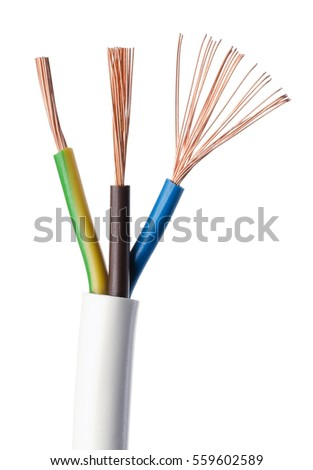 Electrical Power Cable IEC Standard On White Background Cross Section Jacket
