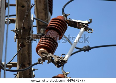 electrical power cable line and fuse in the pole